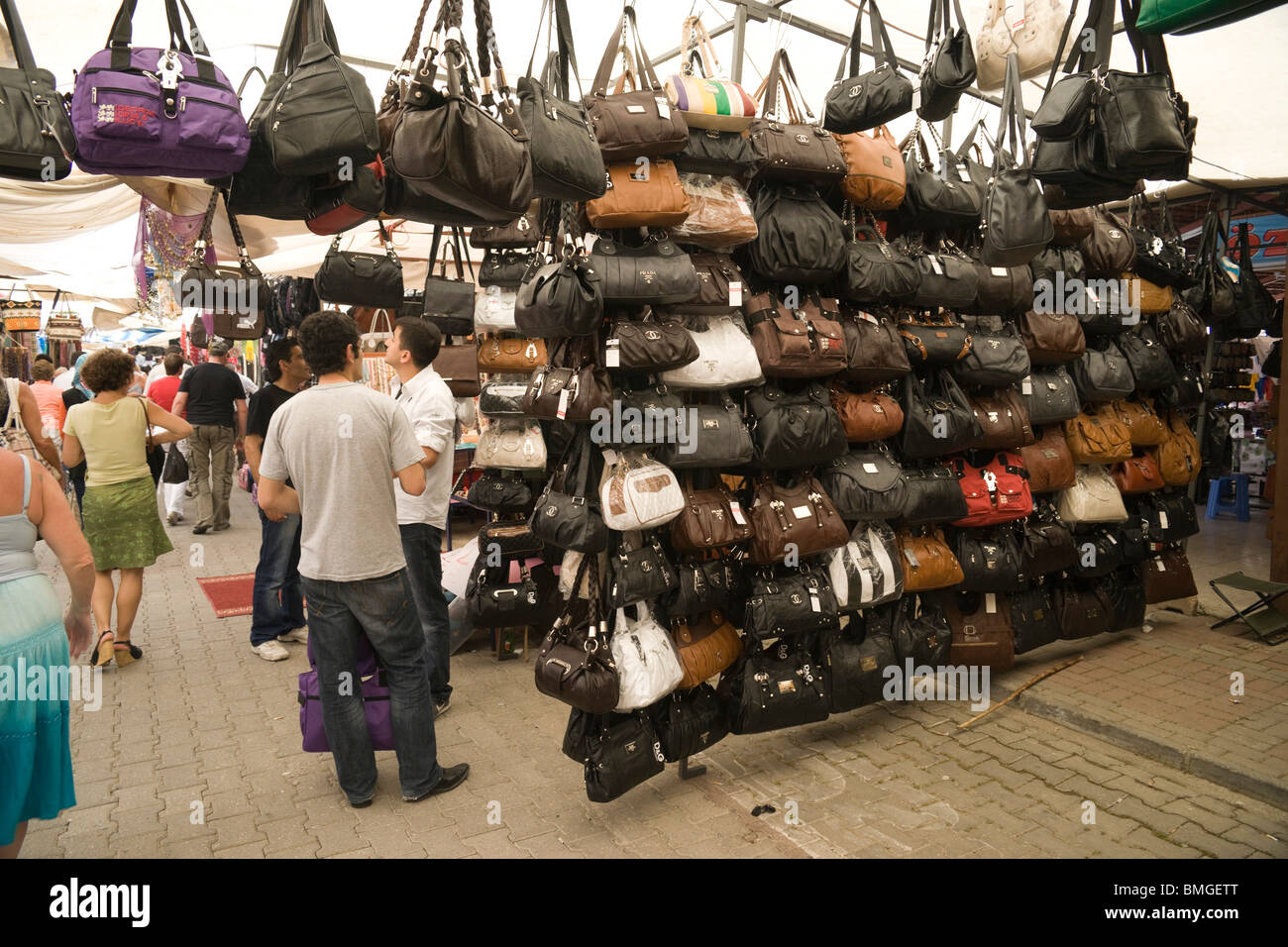 1be2dde1208d Turkey Antalya - Manavgat market - fake or copy leather bags with Chanel,  Prada,