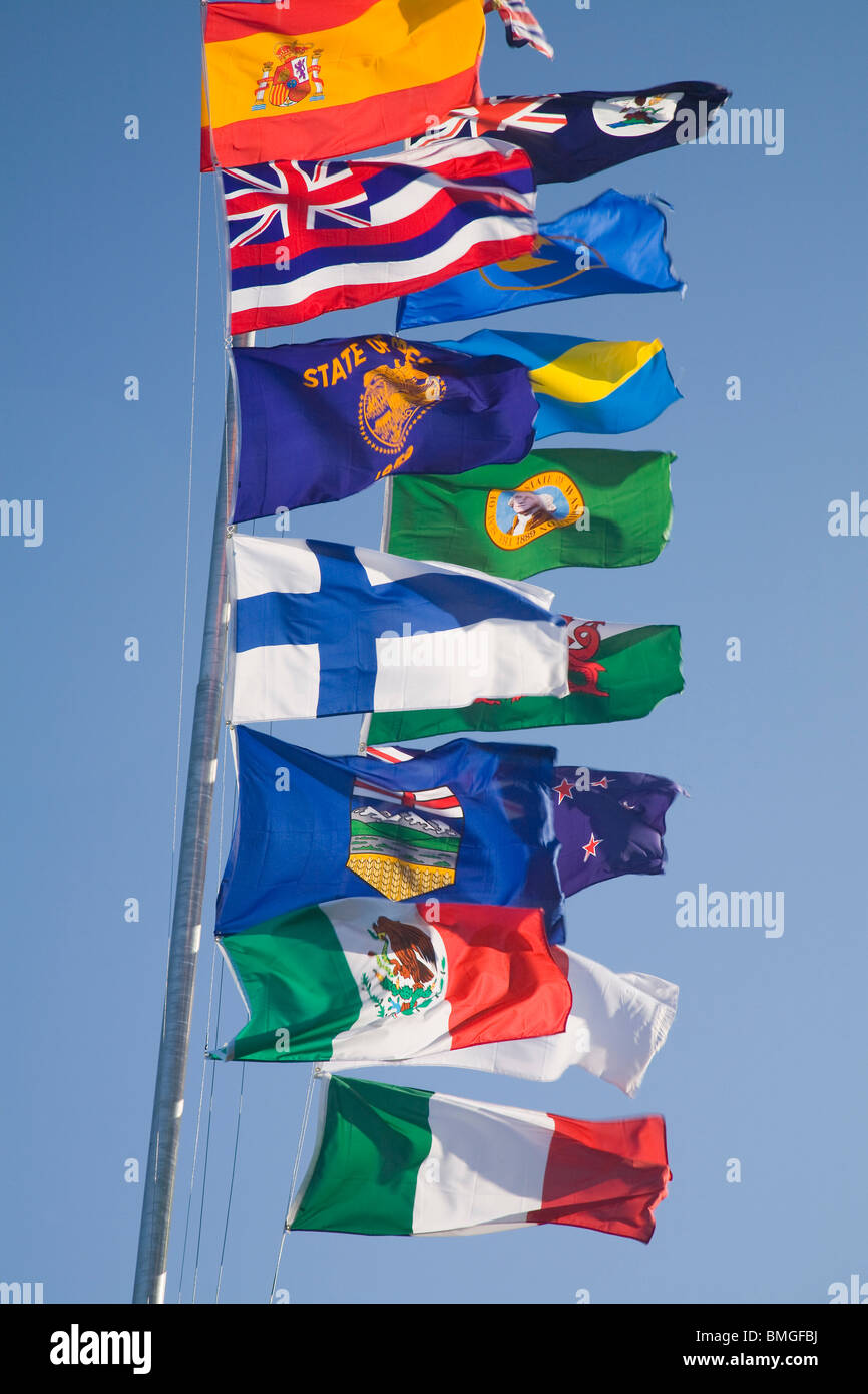 International Flags On A Flagpole - Stock Image