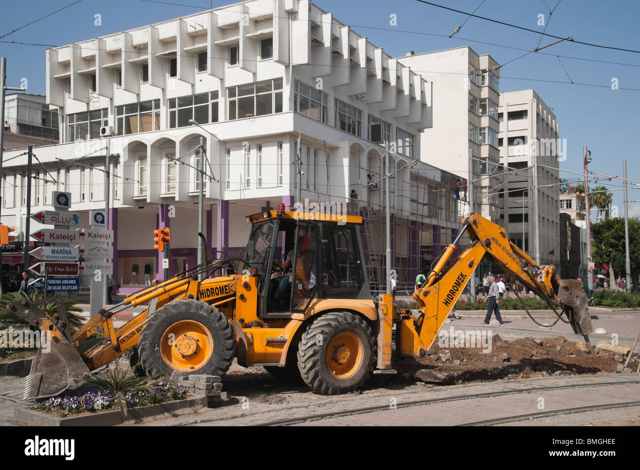 Turkey Antalya - the modern city - road construction work in the centre - Stock Image