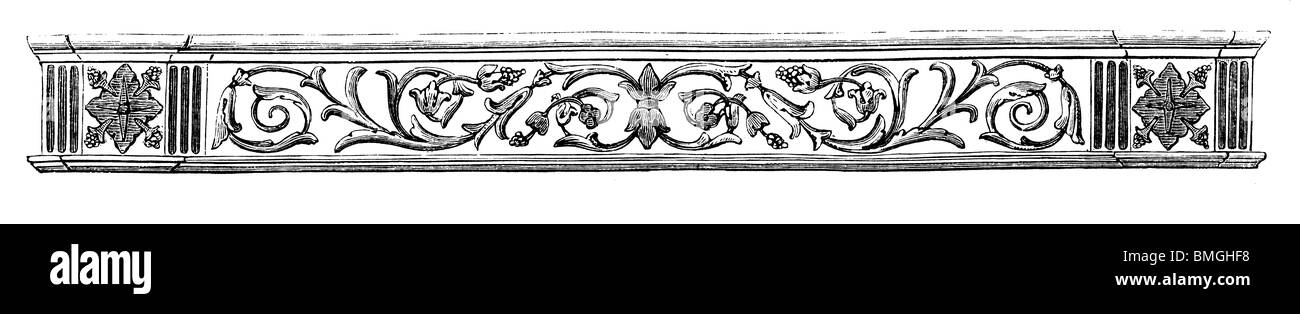 Black and white engraving cut out isolated on white. Illustration of an art item exhibited at the Great London Exhibition - Stock Image