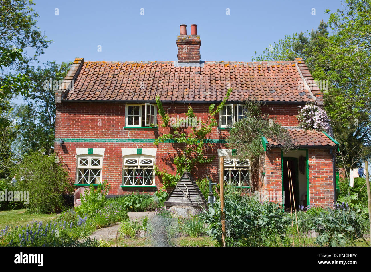 English country cottage at Banham Norfolk with kitchen garden prepared for WW2 - Stock Image