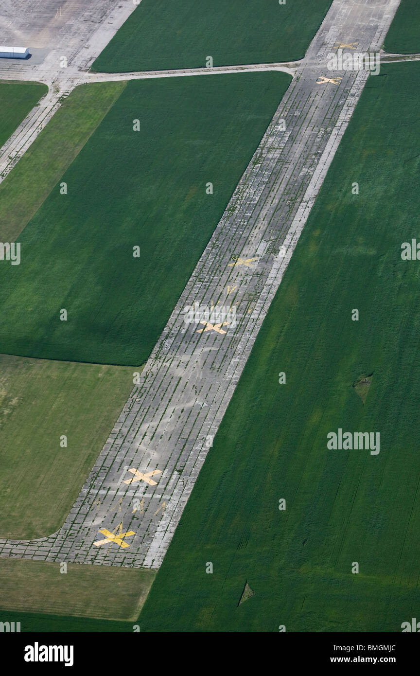 aerial view above closed runway Freeman Municipal Airport Seymour Indiana - Stock Image