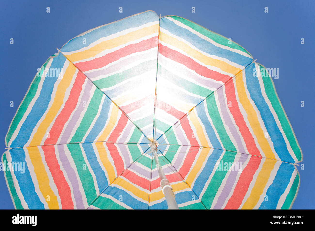 View of the beach from the point of view of a sunbather - Stock Image