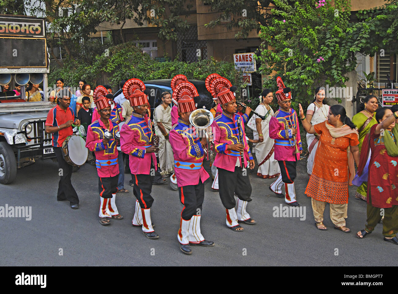 Munjan Ceremony- The Band procession, engaged for the Munjan ceremony. - Stock Image