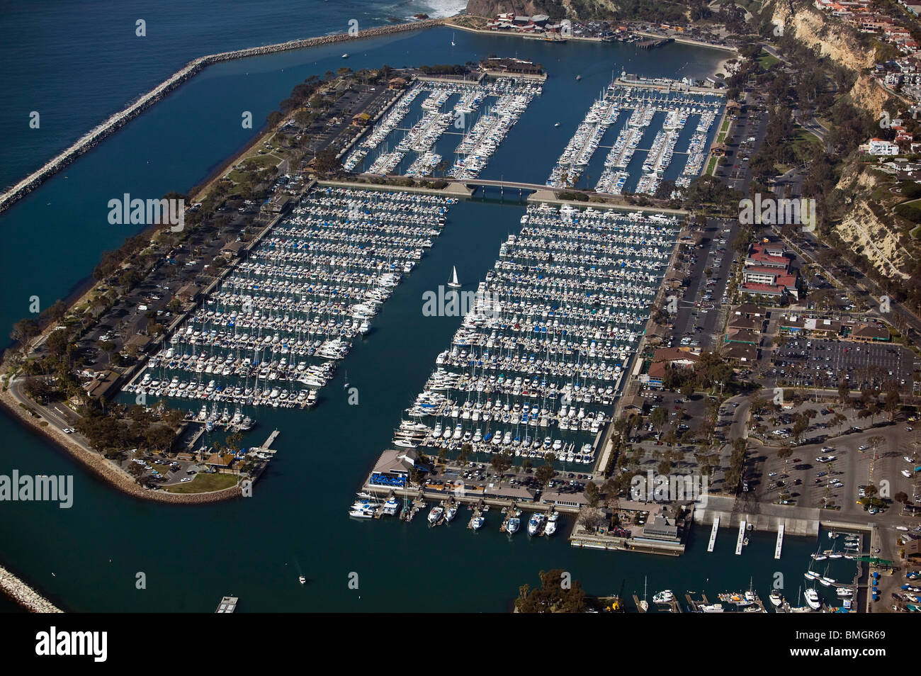 aerial view above Dana Point harbor Orange County California - Stock Image