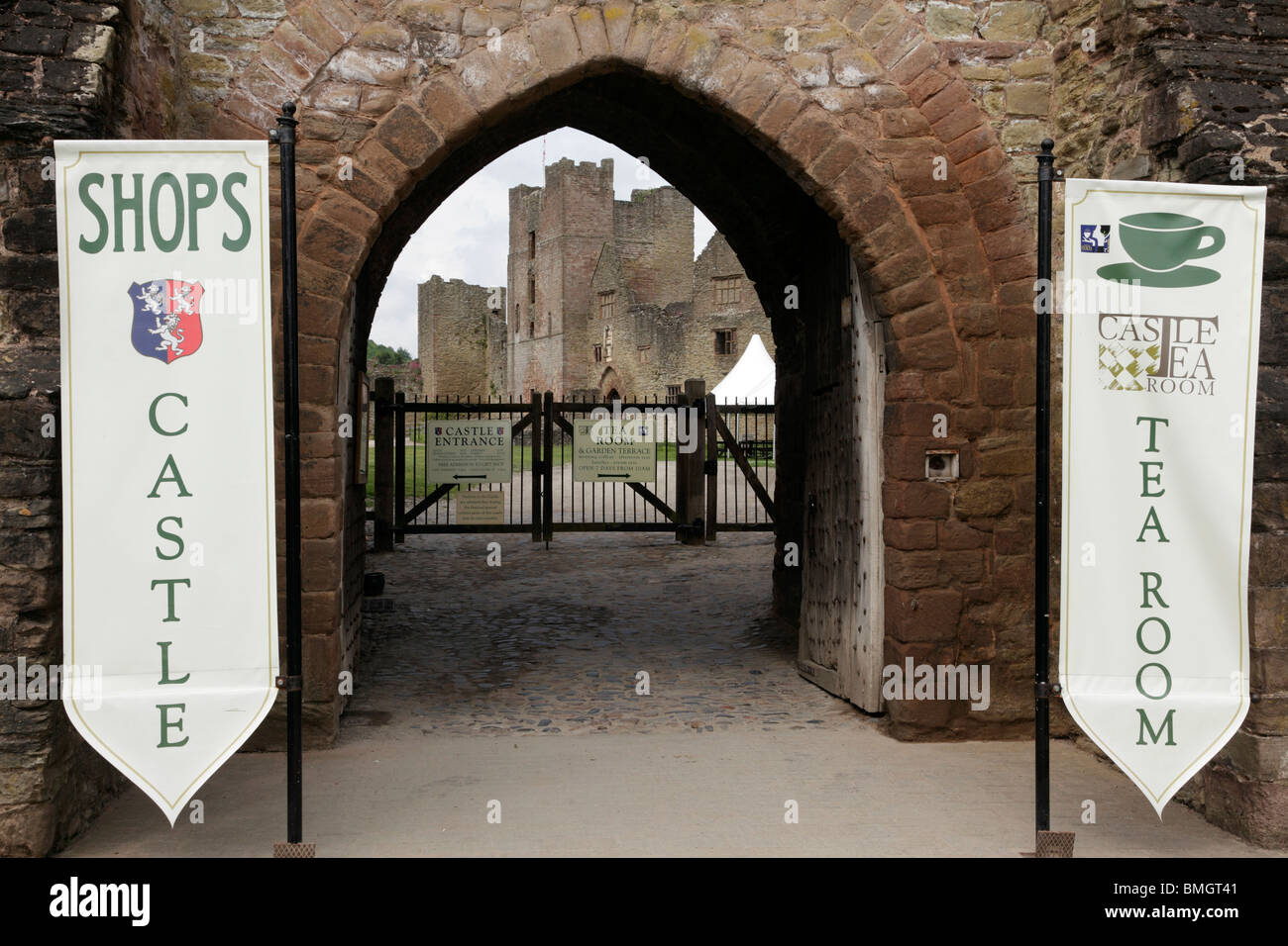 Entrance to Ludlow Castle a medieval ruined castle home to major festivals throughout the year Ludlow Shropshire - Stock Image