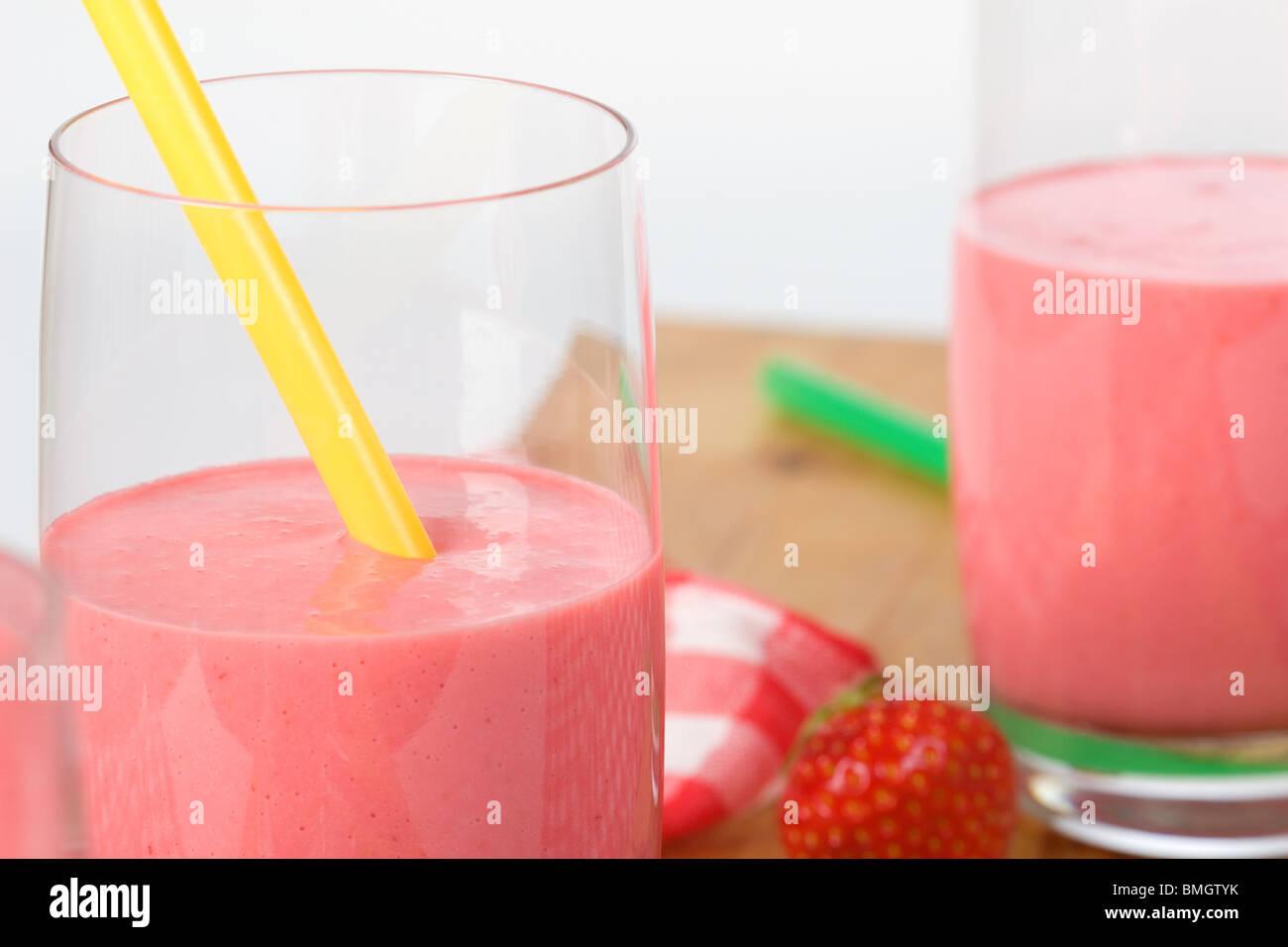 Two milkshakes - Stock Image