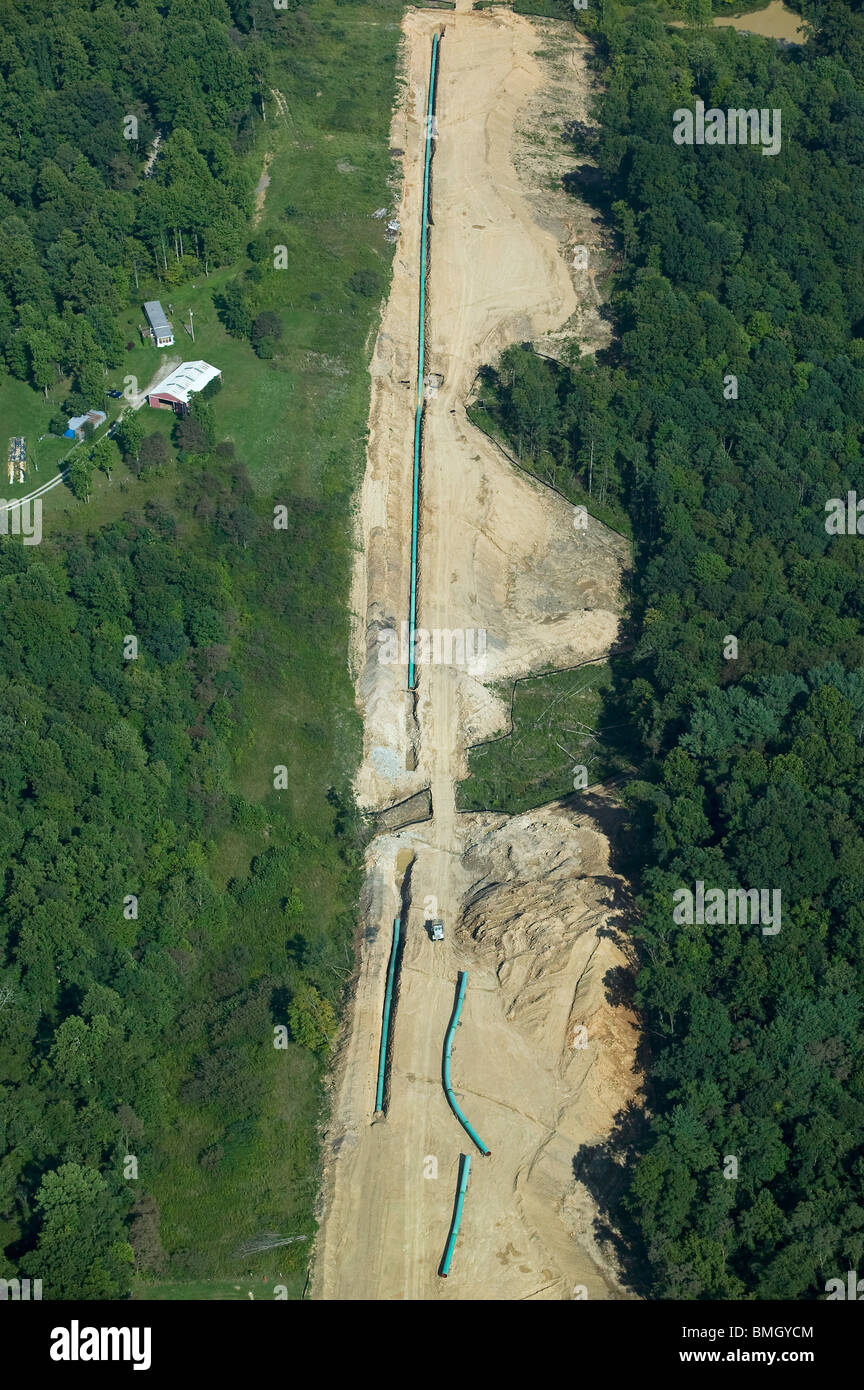 aerial view above Rockies Express natural gas pipeline construction project central Ohio - Stock Image