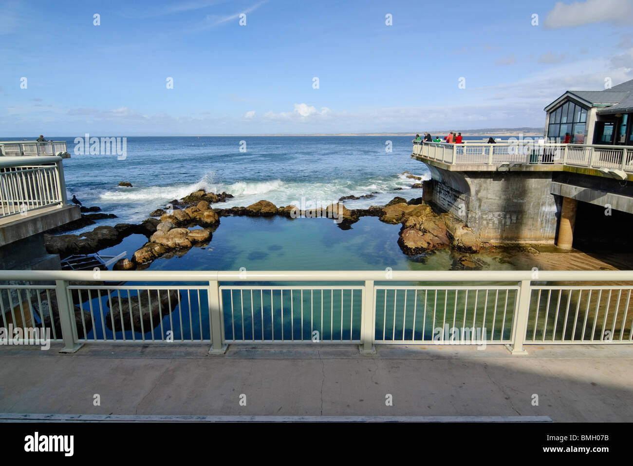 Exterior view of the Monterey Bay Aquarium along the Pacific Ocean. The Great Tide Pool amphitheater can be seen. - Stock Image