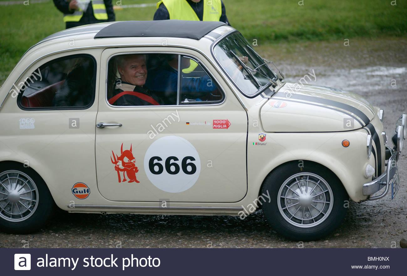 Tiny fiat car - Stock Image