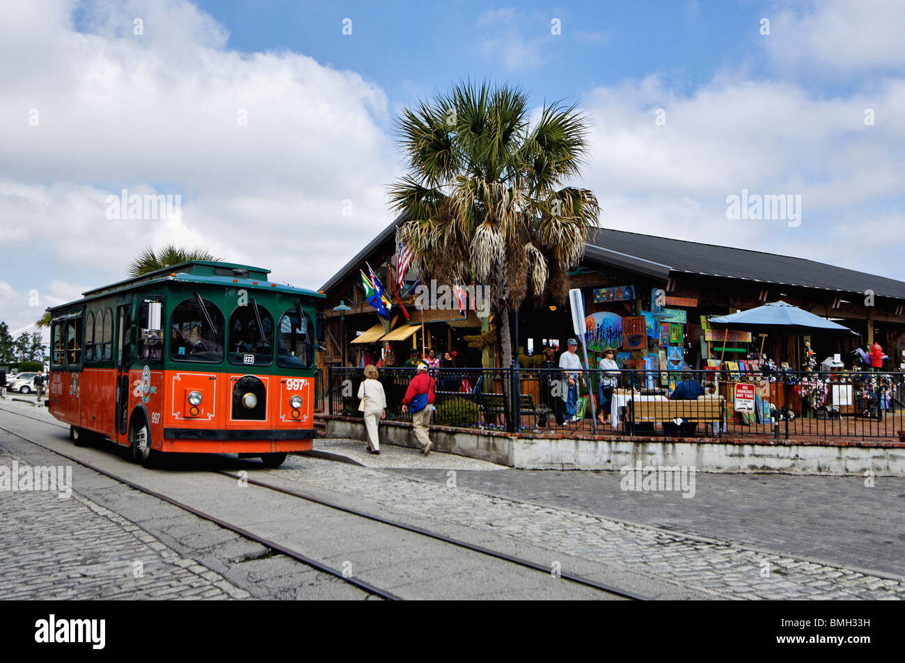 Old Town Trolley on River Street in Savannah, Georgia - Stock Image