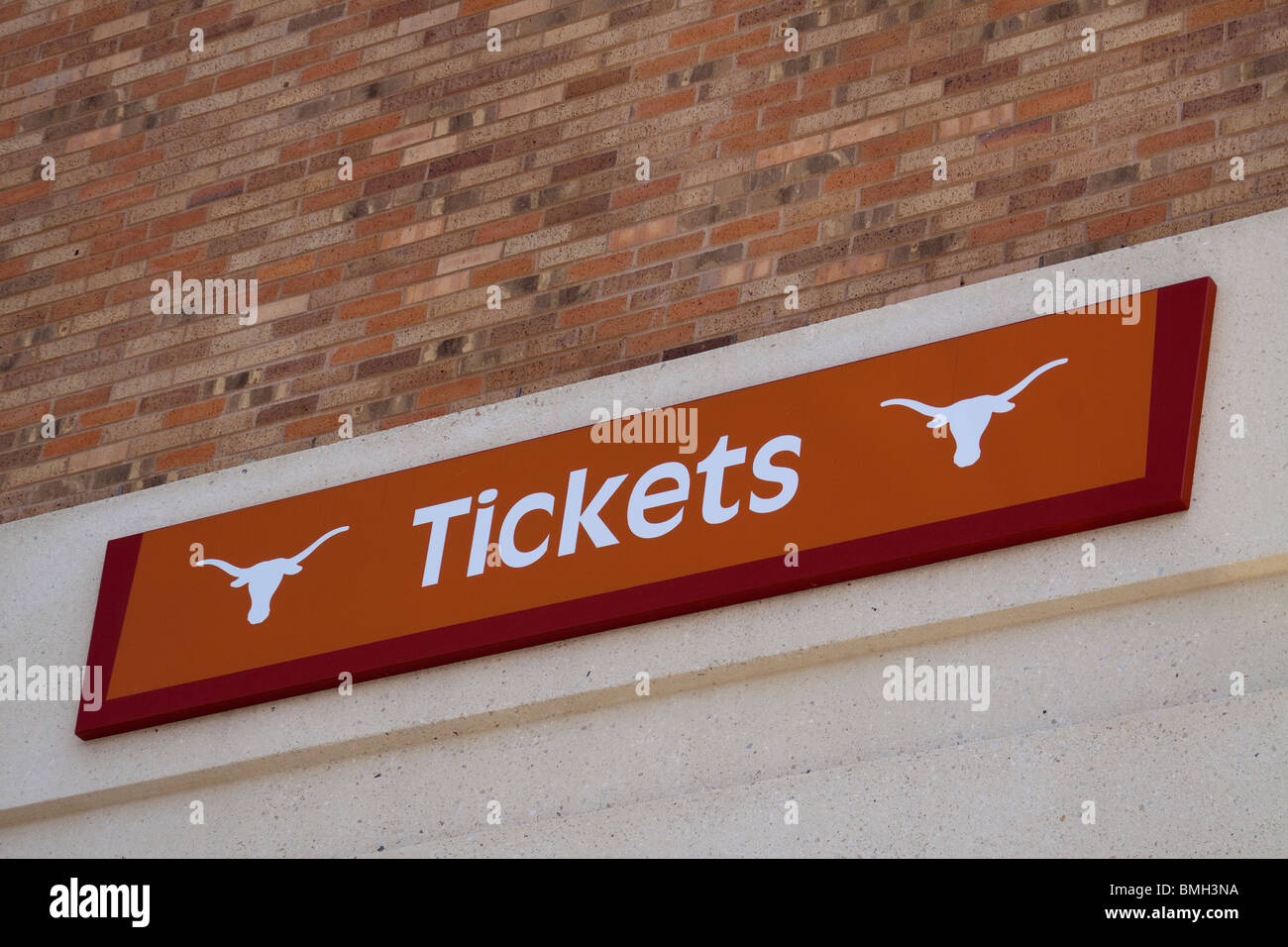 Tickets sign at Darrell K Royal longhorn football stadium at University of Texas at Austin - Stock Image
