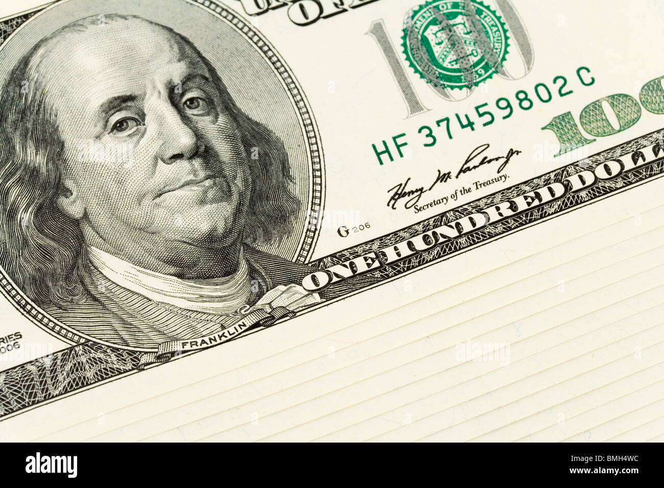 US Hundred Dollar Bills for background - Stock Image