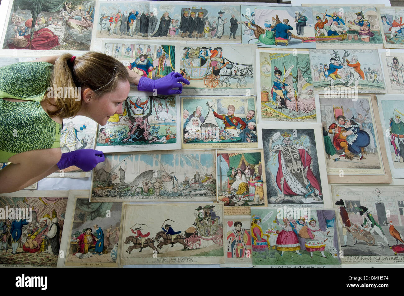 A collection of political cartoons and caricatures from the 1700s and 1800s (18th century and 19th century) at Brighton - Stock Image