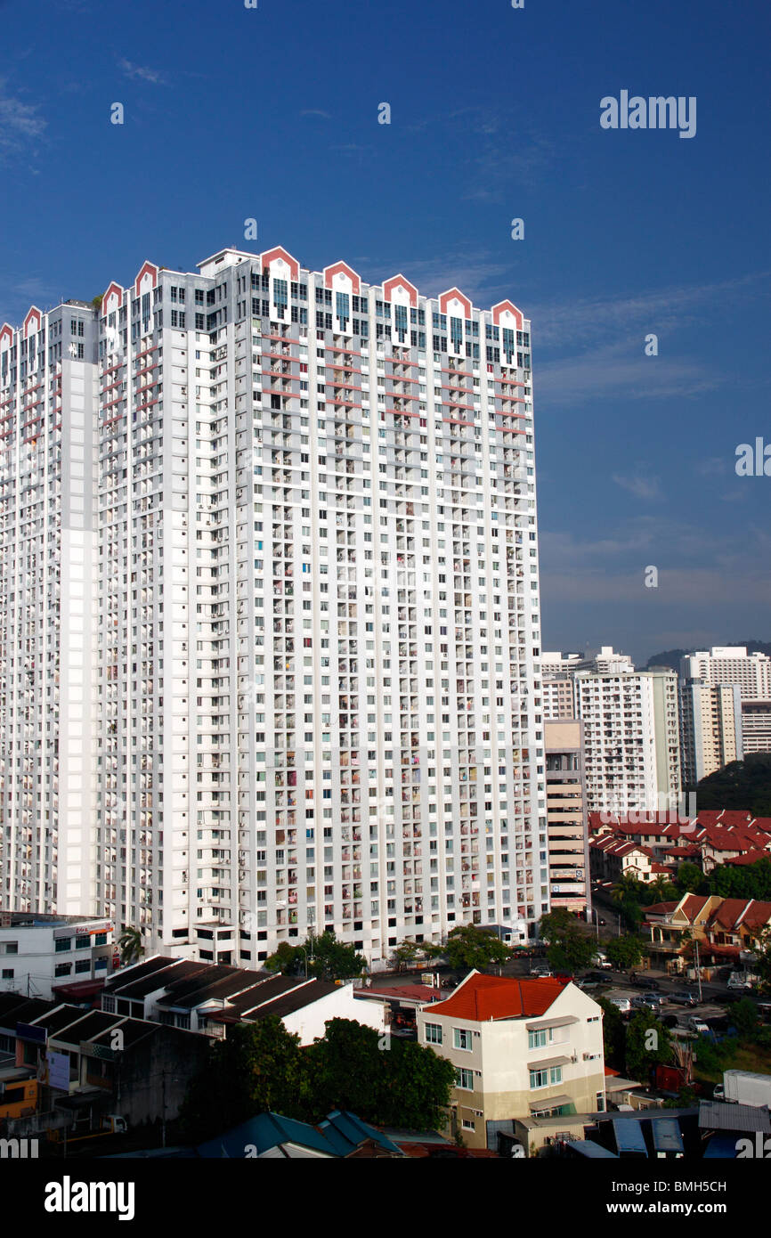 An image of a congested massive residential complex in an urban area. - Stock Image