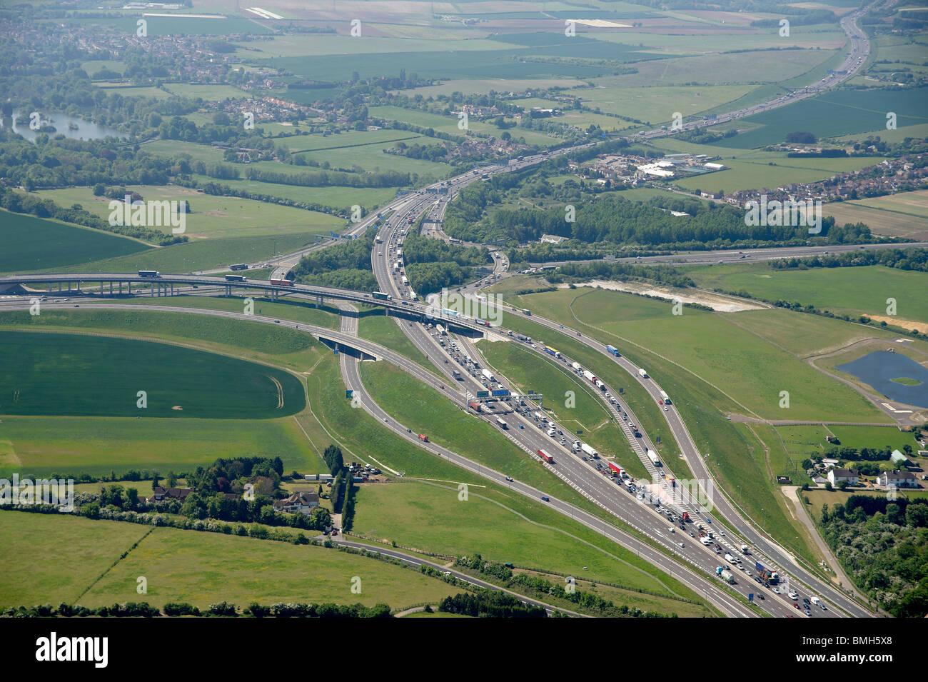 M25/M20 Interchange, just south of Dartford, South East England - Stock Image