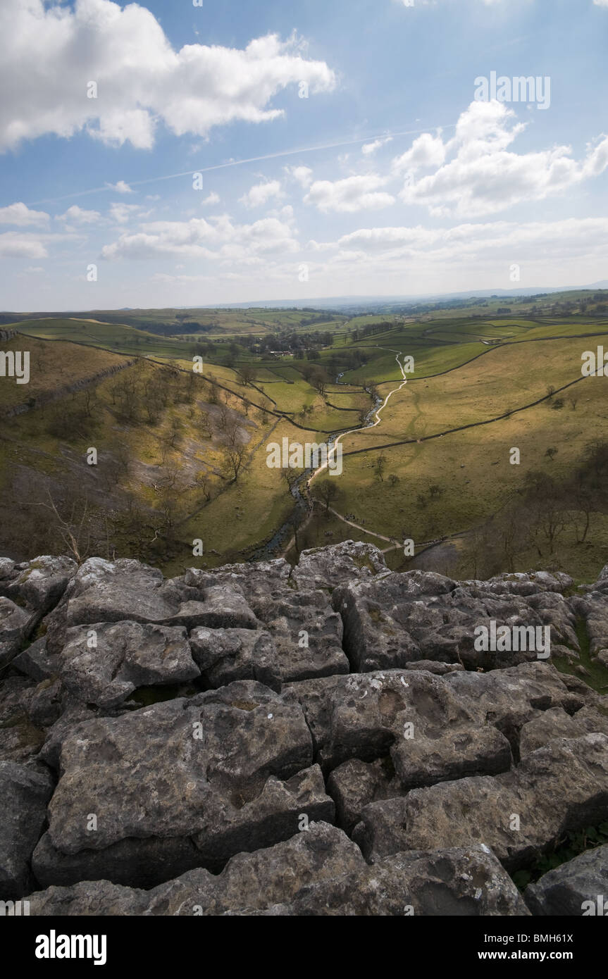 The Limestone pavement  Malham Cove, The Yorkshire Dales,England - Stock Image