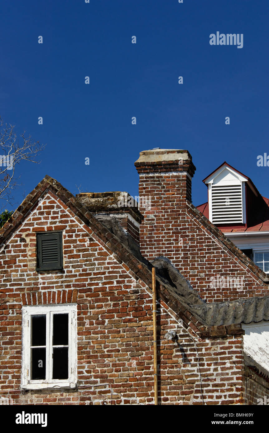 Gable End and Chimney from Old Brick House in Charleston, South Carolina - Stock Image