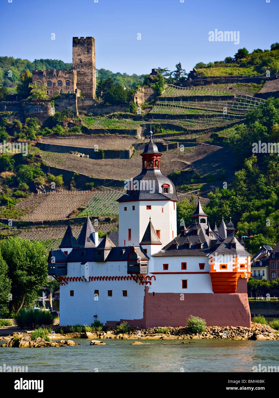 Kaub Castle on the Rein River, Rhein, Rhine, Germany, Europe - Stock Image