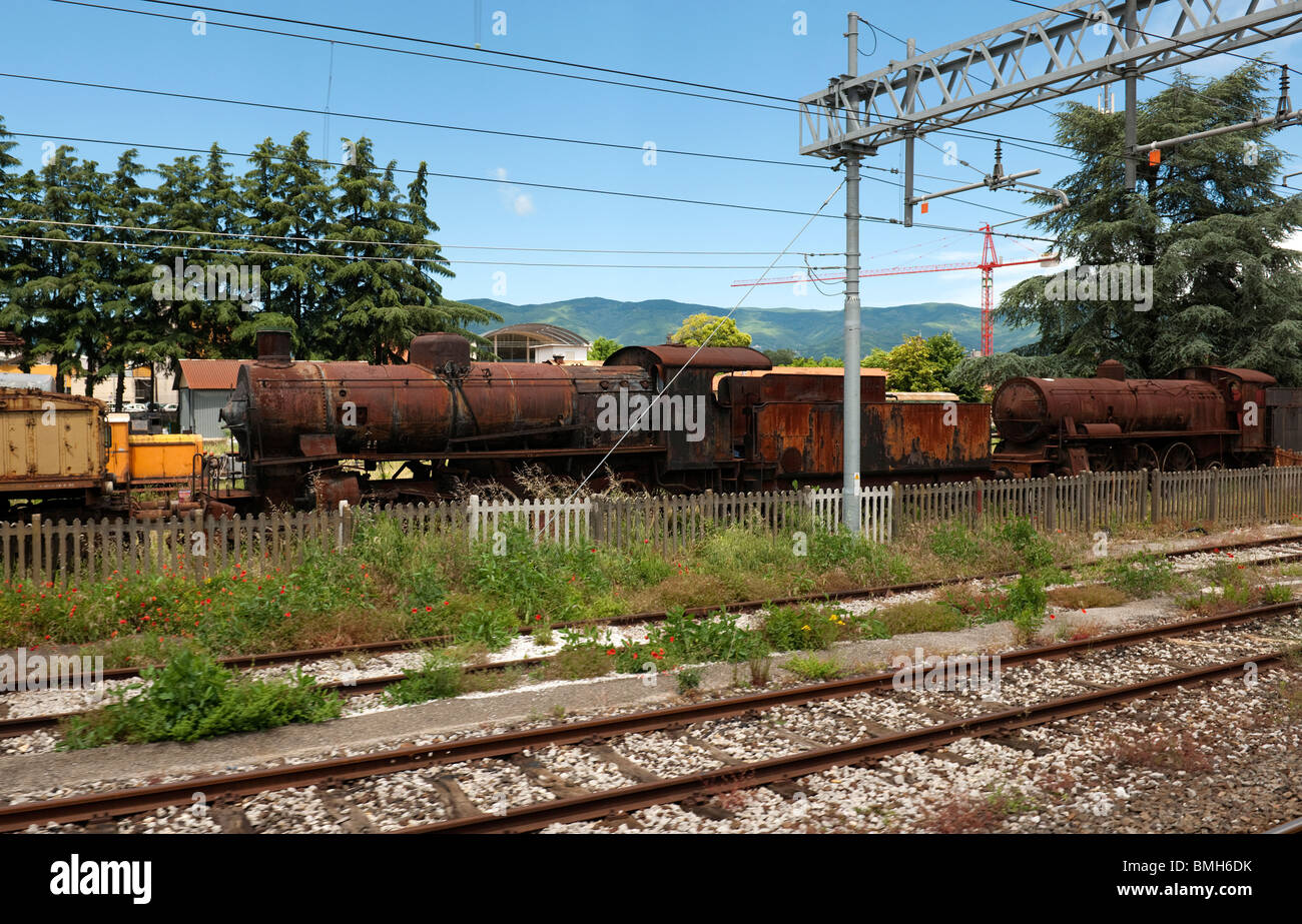 Rusty old steam locomotives Pistoia Station Tuscany Italy-2 - Stock Image