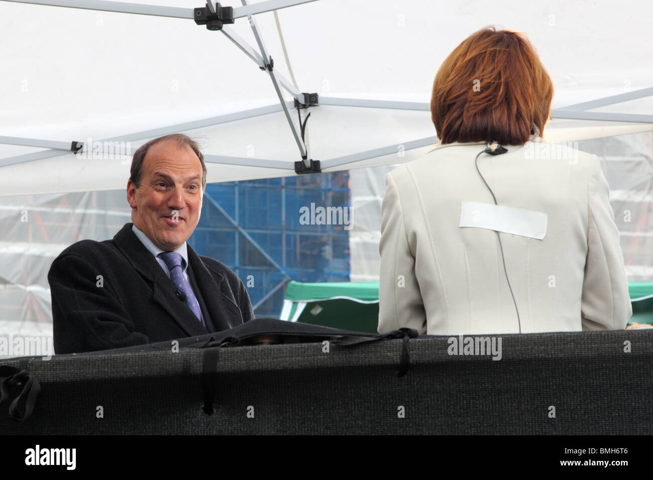 Liberal Democrat MP Simon Hughes giving TV interview on College Green, Westminster, London. - Stock Image