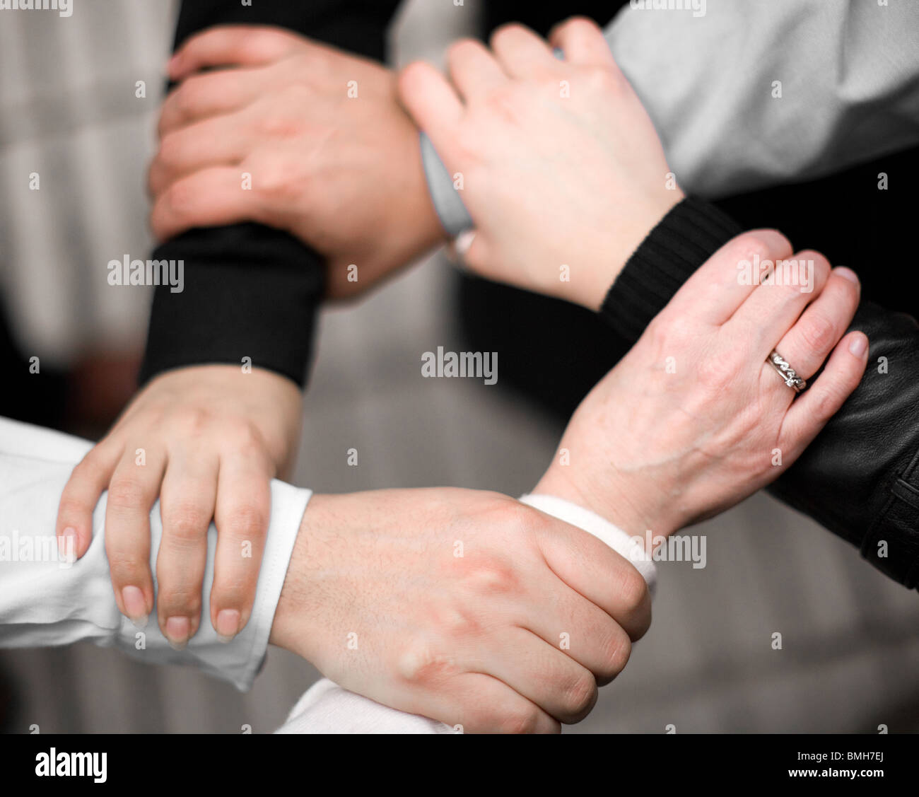 hands representing team work - Stock Image
