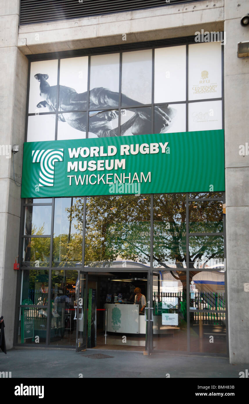 The entrance to the World Rugby Museum at Twickenham Rugby Stadium, home of English International rugby, in SW London, - Stock Image