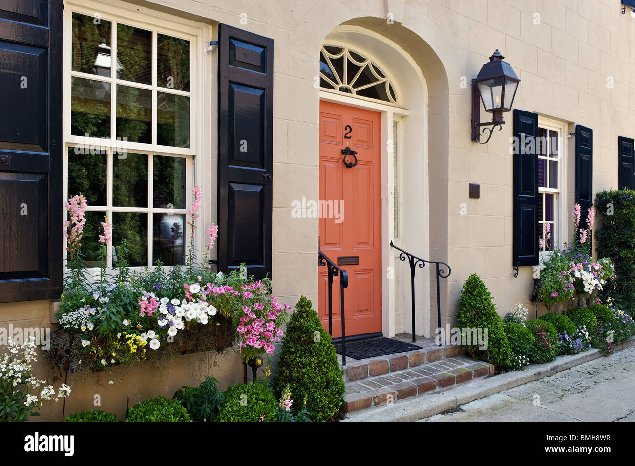 Detail of Door and Windows of the Historic Home in Charleston, South Carolina - Stock Image