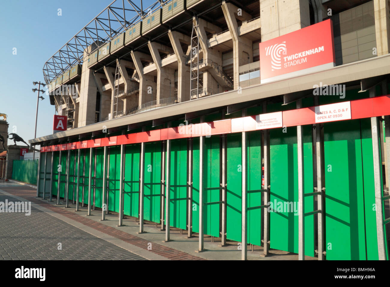 Turnstiles to the West Stand, Twickenham Rugby Stadium, home of English International rugby, in SW London, UK.. - Stock Image