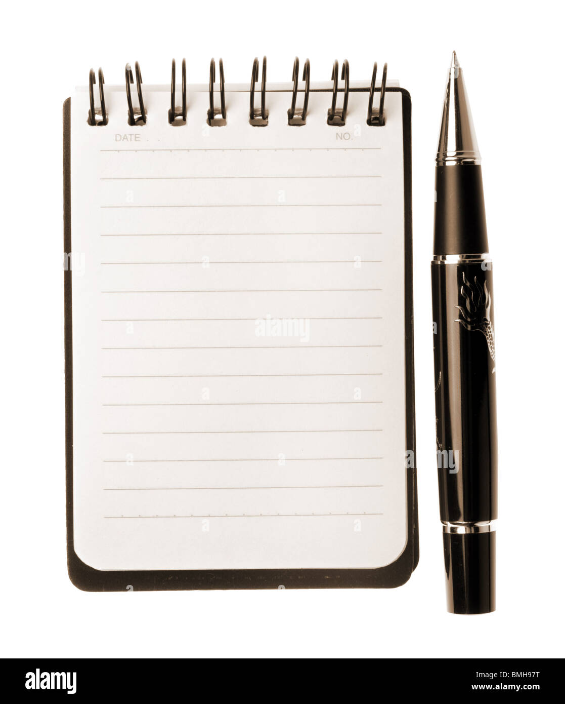 Notebook and pen isolated on white background, sepia toned - Stock Image