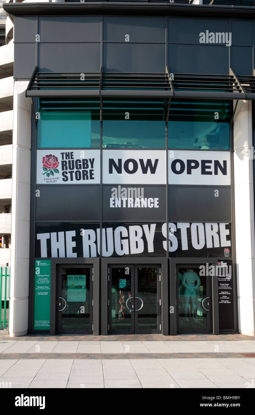 The Rugby Store, outside Twickenham Rugby Stadium, home of English International rugby, in south west London, UK.. - Stock Image