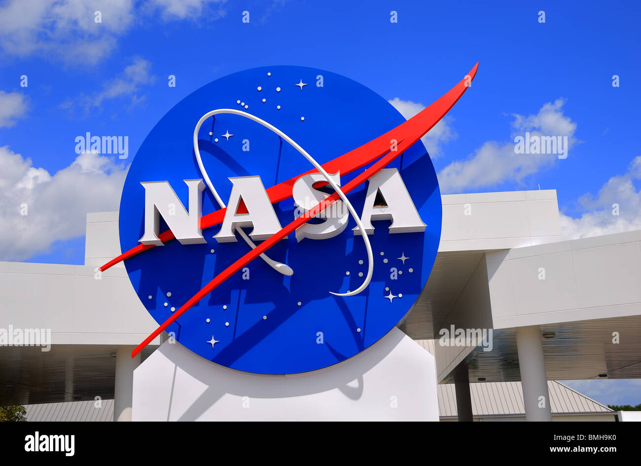 Sign at the entrance to The Kennedy Space Centers Visitor Centre at Cape Canaveral, Florida, United States of America - Stock Image