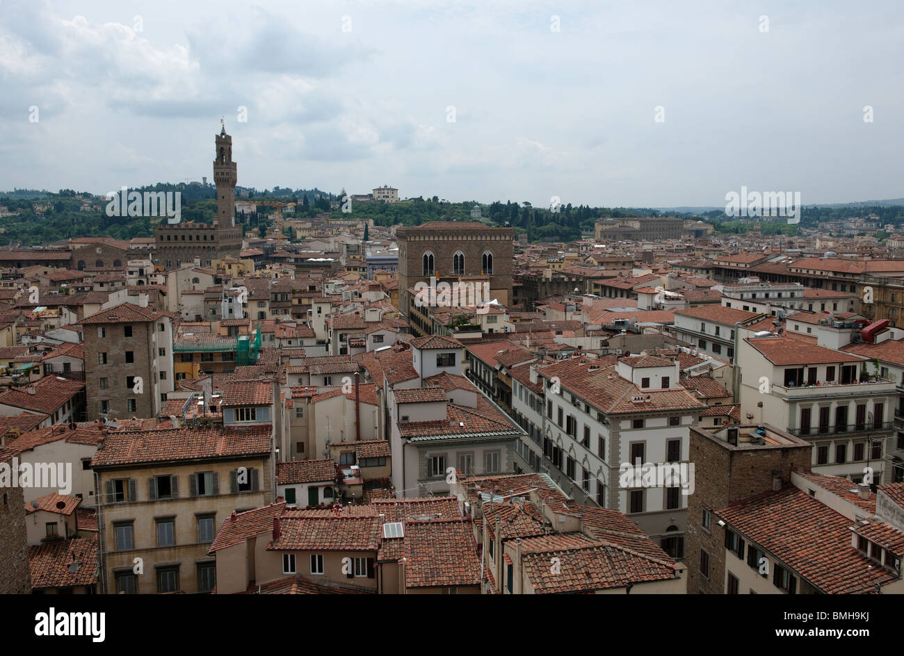 Rooftops of Florence from the Cathedral Bell Tower-1 - Stock Image