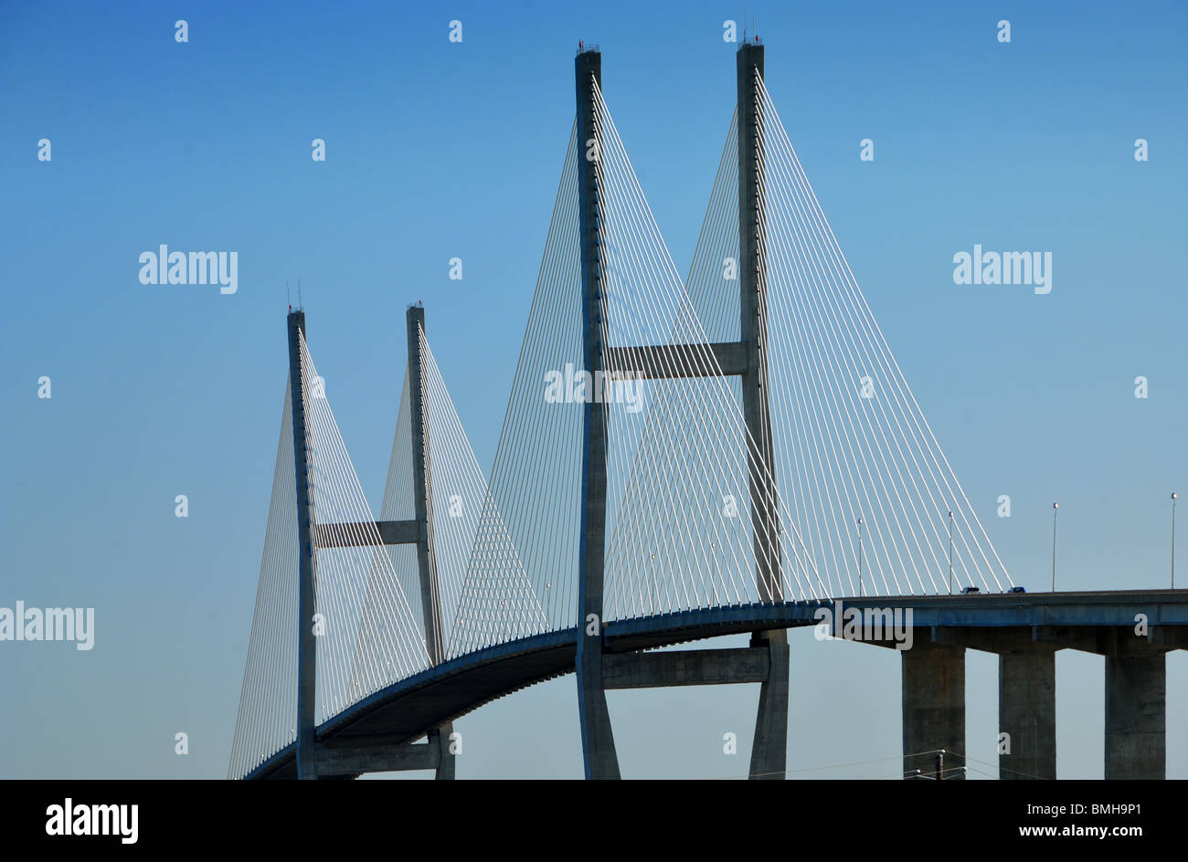 The Sidney Lanier Bridge is a cable-stayed bridge that spans the South Brunswick River in Brunswick, Georgia, United - Stock Image
