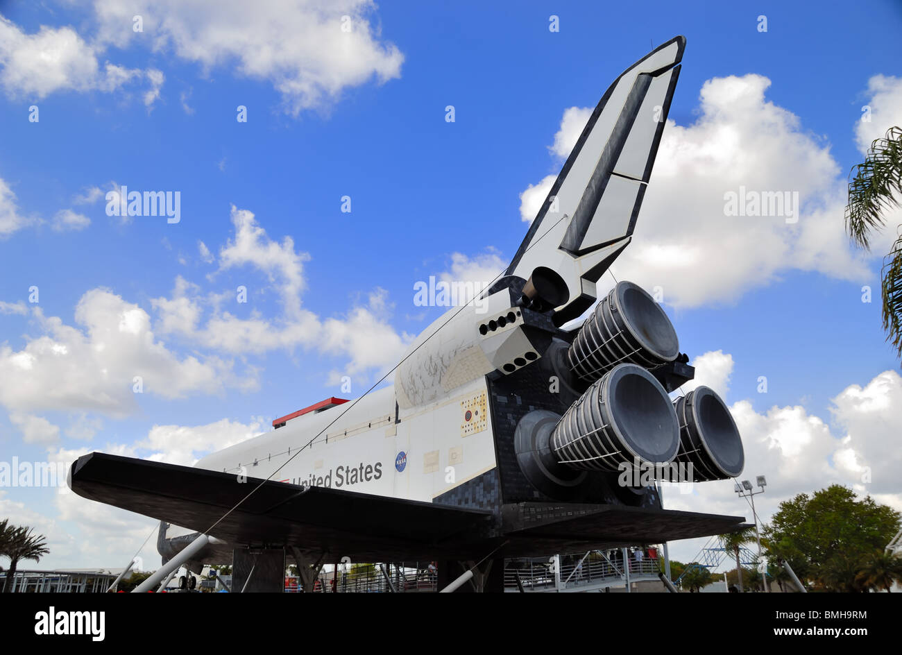 Replica of a Space Shuttle at the Visitors Center, Kennedy Space Center, Cape Canaveral, Florida, United States - Stock Image