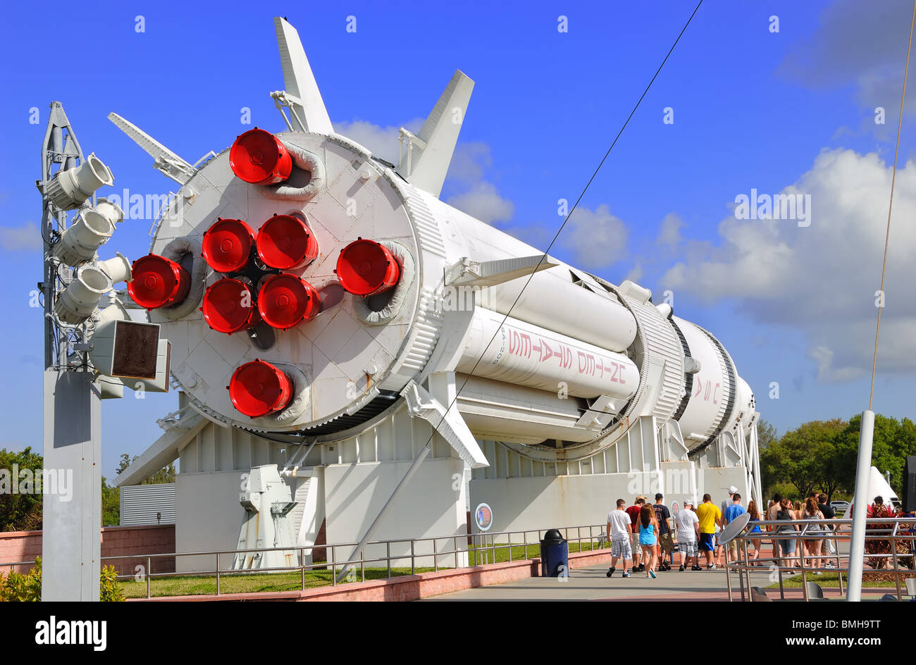 The huge Saturn Rocket, SA 209, on display in the Rocket Garden at The Kennedy Space Centre in Florida - Stock Image