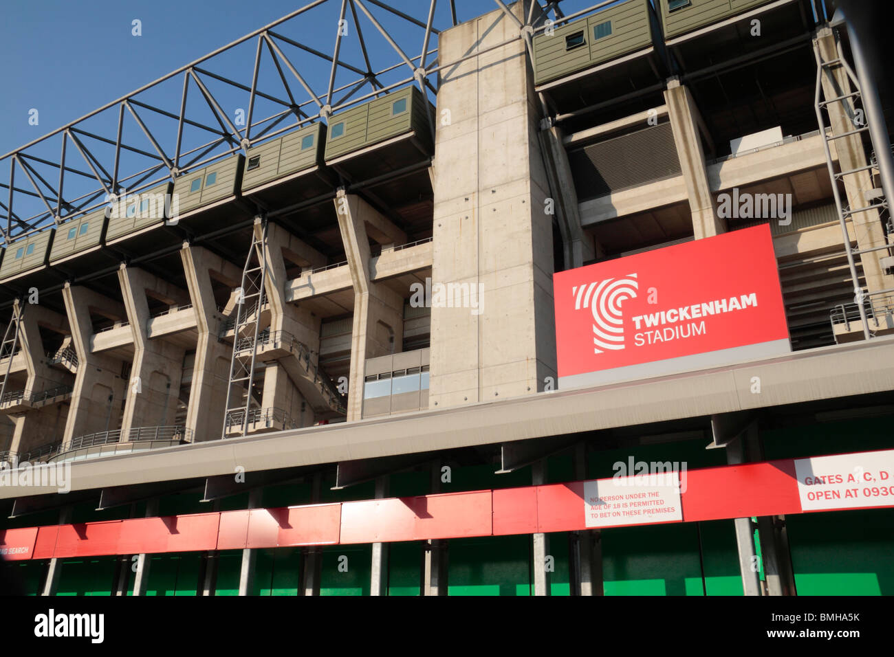 The West Stand of Twickenham Rugby Stadium, home of English International rugby, in south west London, UK.. August - Stock Image