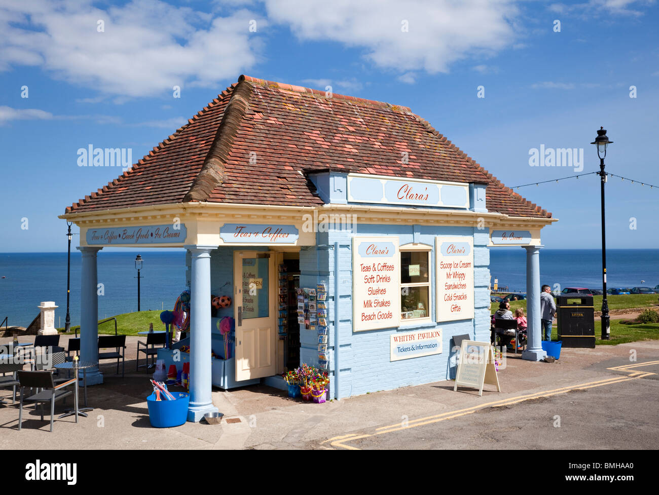 Seafront kiosk gift shop at Whitby North Yorkshire England UK - Stock Image