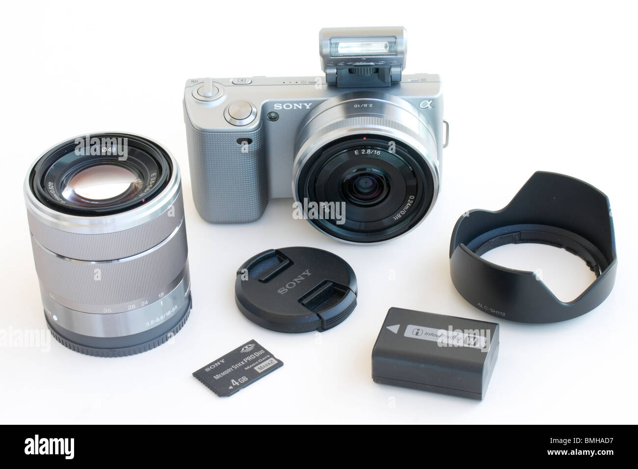 Sony NEX-5 HD video and still camera with interchangeable lenses Stock Photo