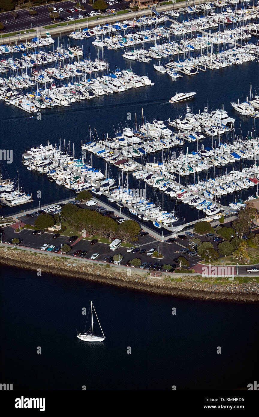 aerial view above Dana Point harbor Orange County California Stock Photo