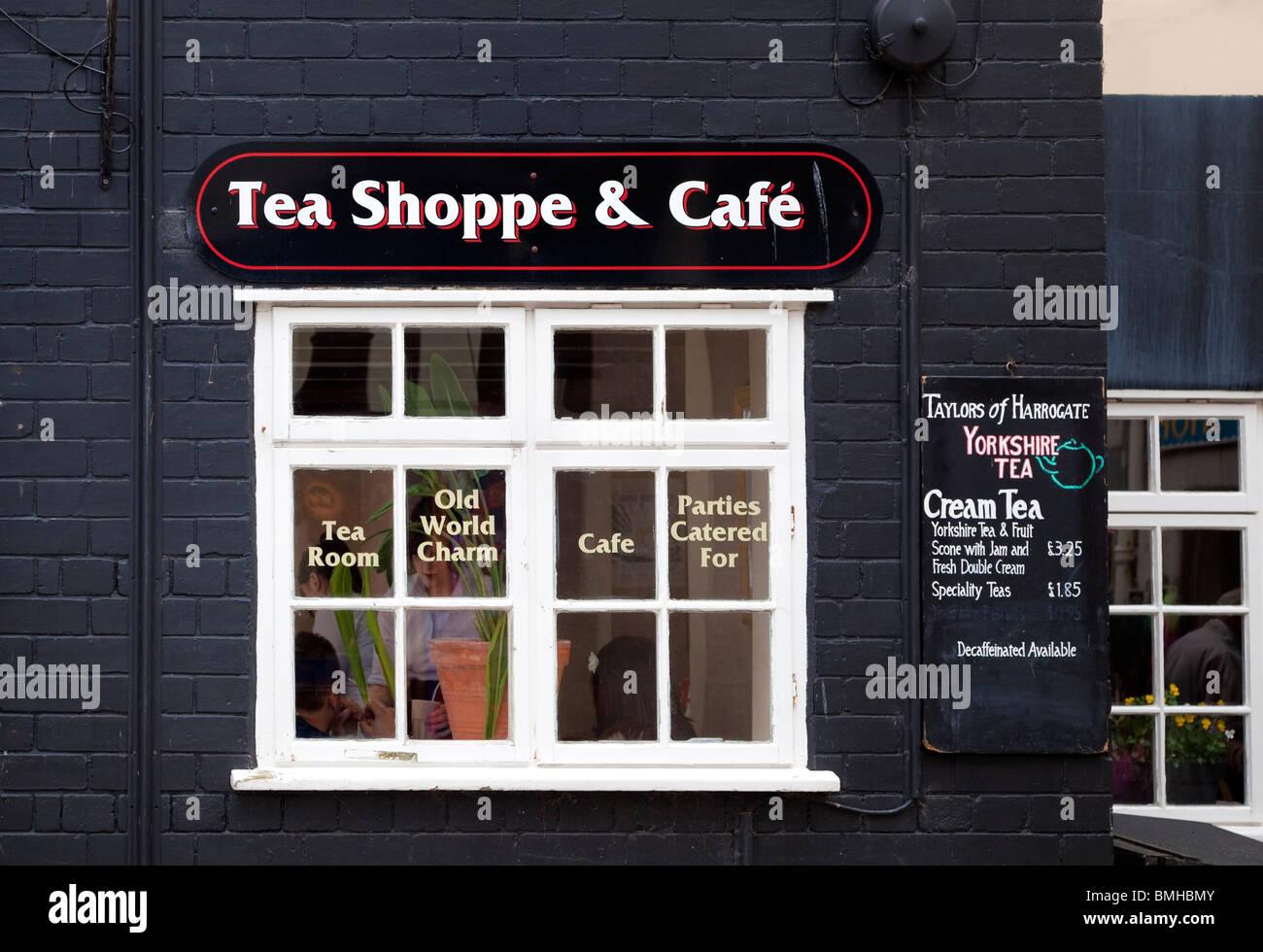 Old English Tea Room shop window, England, UK - Stock Image