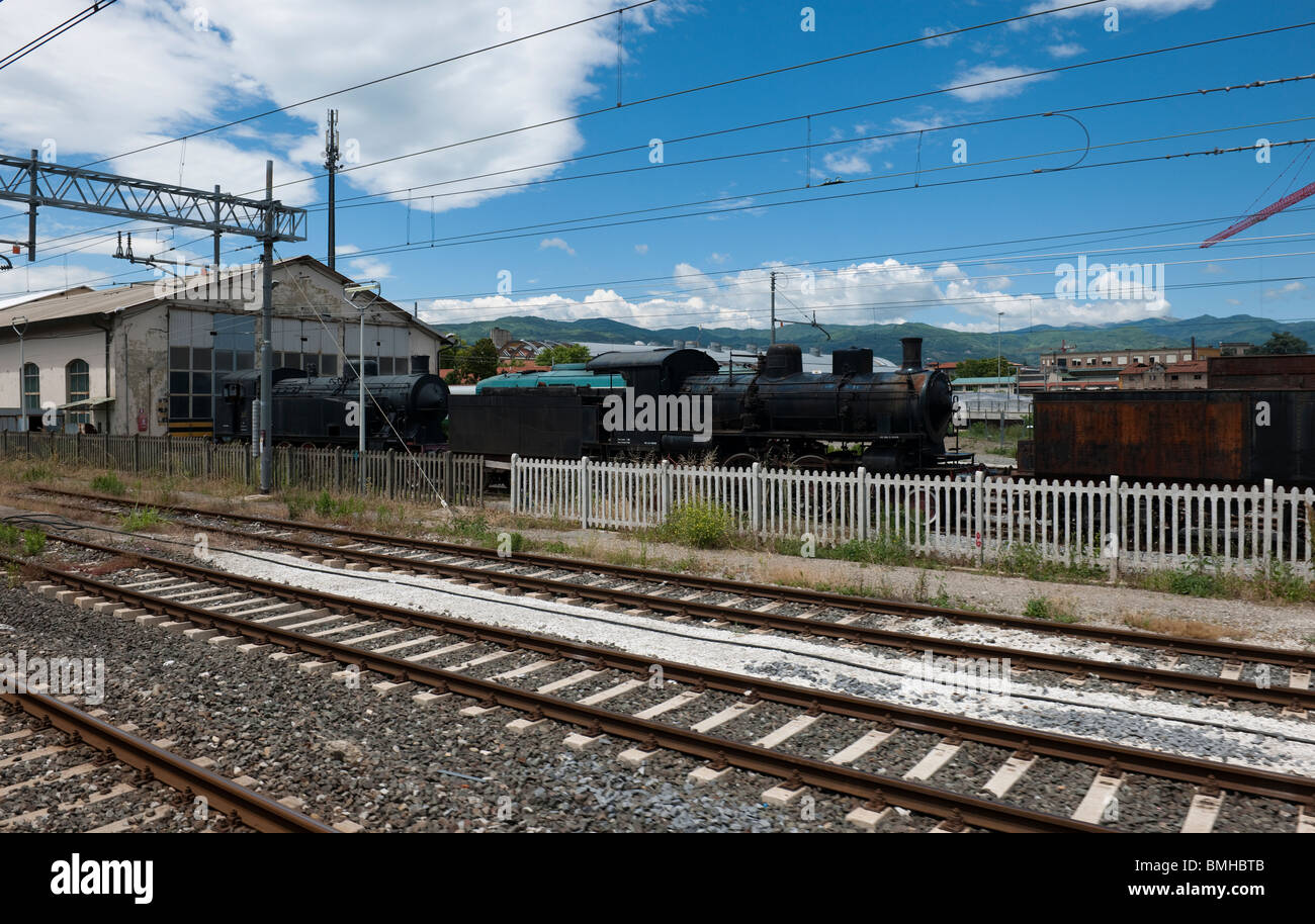 Old steam locomotives at Pistoia Station, Tuscany, Italy-1 - Stock Image