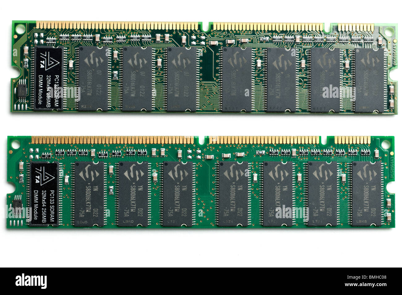 Two 256 mb pc133 sdram 32m*64 dimm computer memory modules - Stock Image