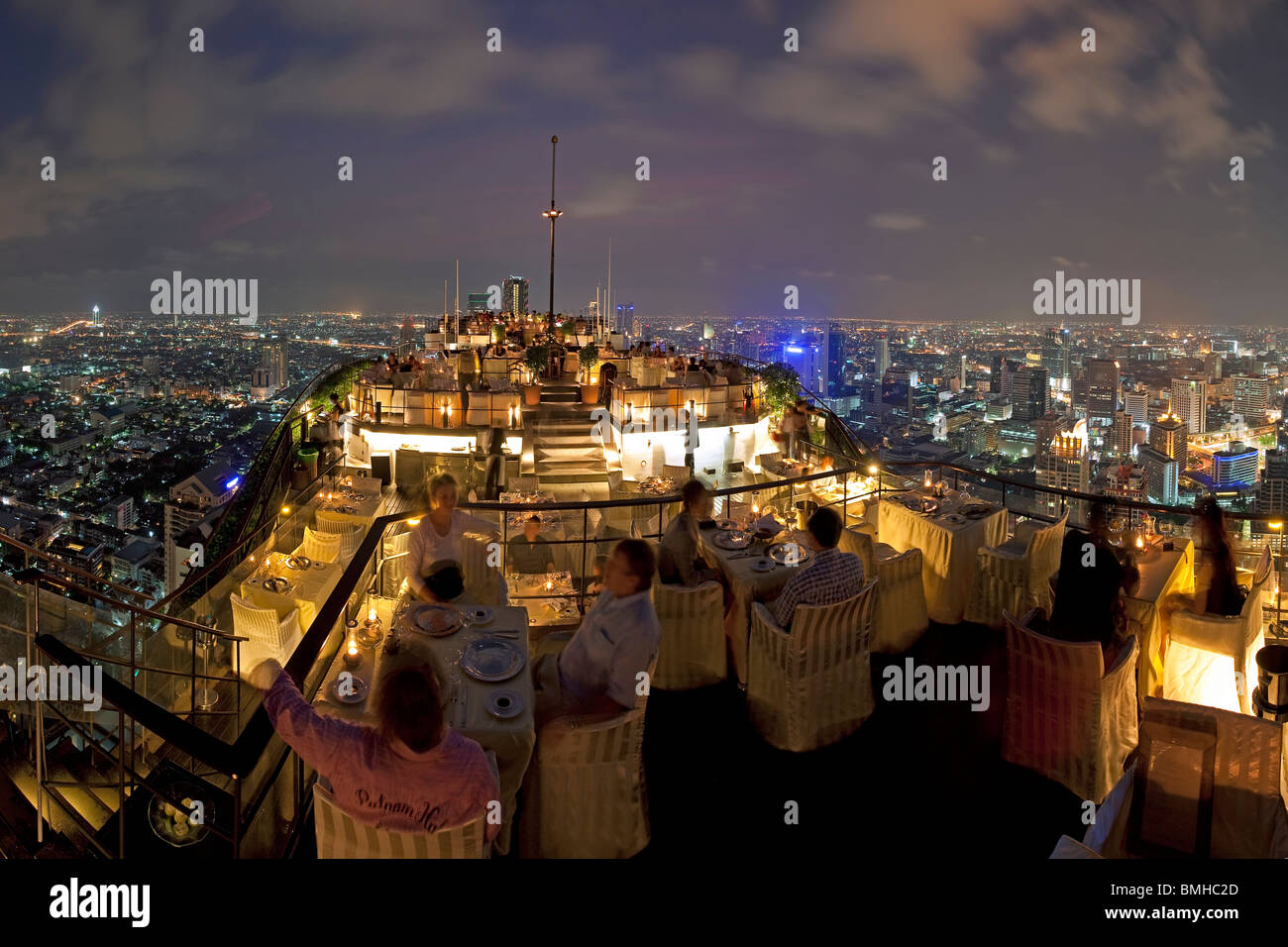 Bangkok City skyline from Vertigo, a bar and restaurant on top of the Banyan Tree Hotel, Bangkok, Thailand, Southeast - Stock Image