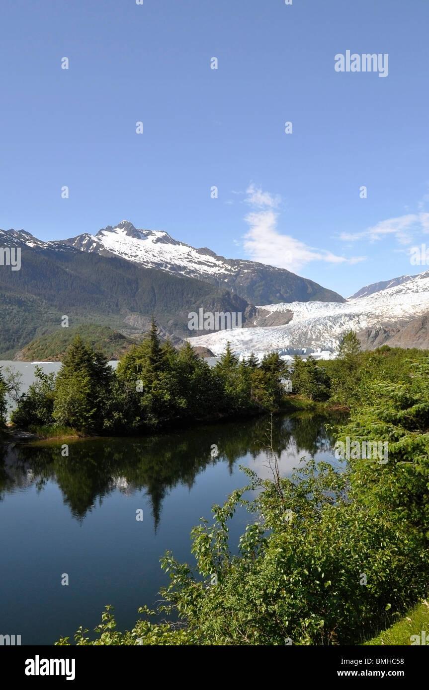 View of Mendenhall Glacier, Juneau, Alaska. - Stock Image