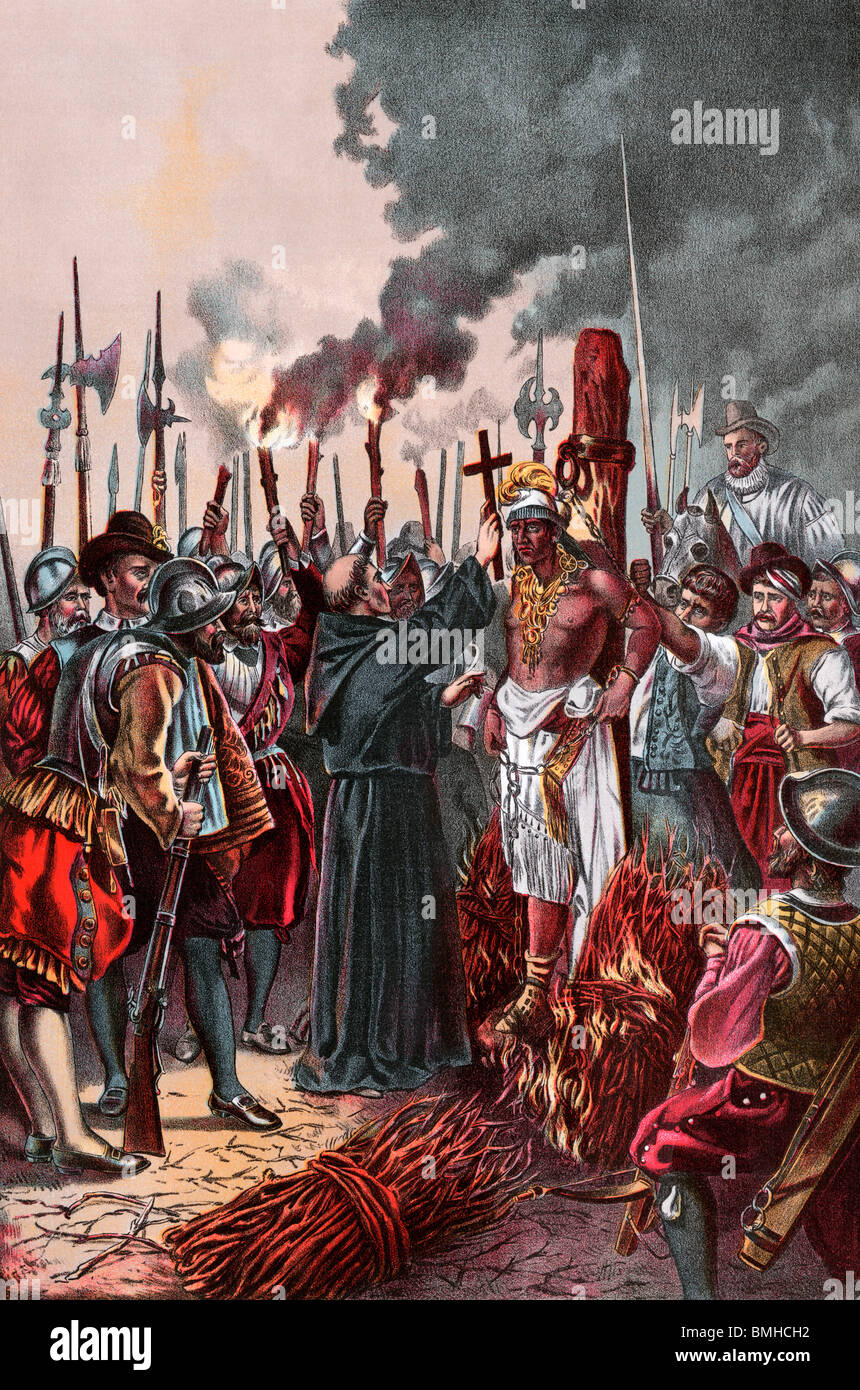 Spanish conquerors under Pizarro burning the Inca chief Atahualpa to death. Color lithograph - Stock Image