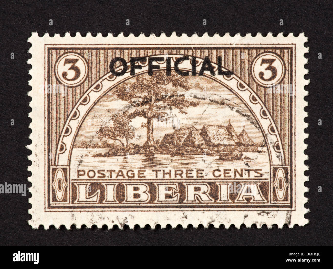 Postage stamp from Liberia depicting Providence Island and Monrovia Harbor - Stock Image