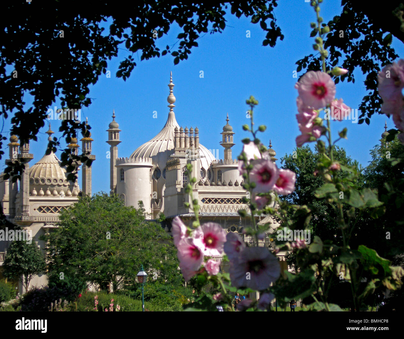 The Royal Pavilion viewed from the Pavilion Gardens, Brighton, East Sussex, England, UK, Great Britain - Stock Image