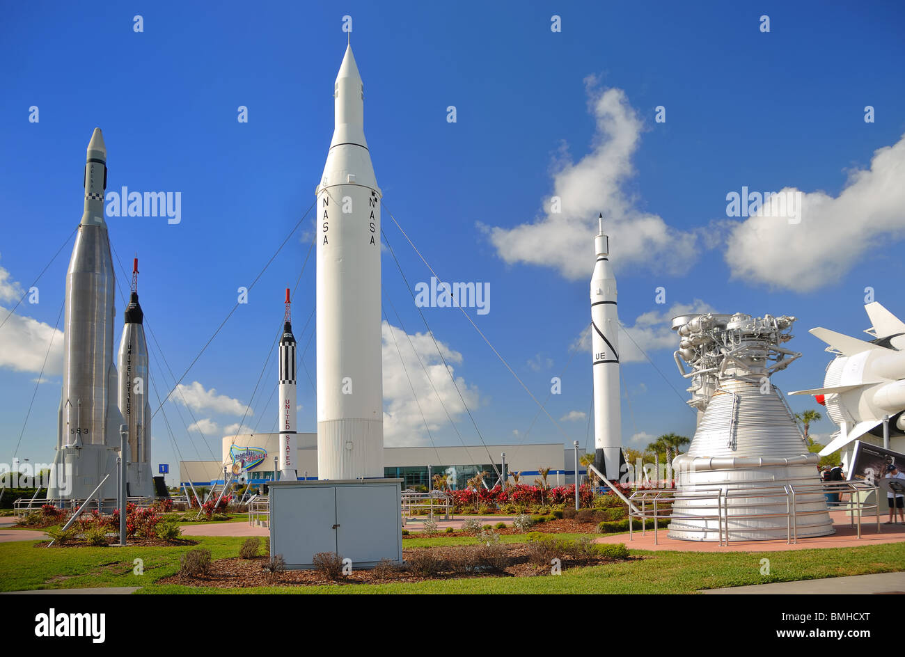 The Rocket Garden at The Kennedy Space Centre, Cape Canaveral, Florida, USA, has recently been redeveloped. - Stock Image