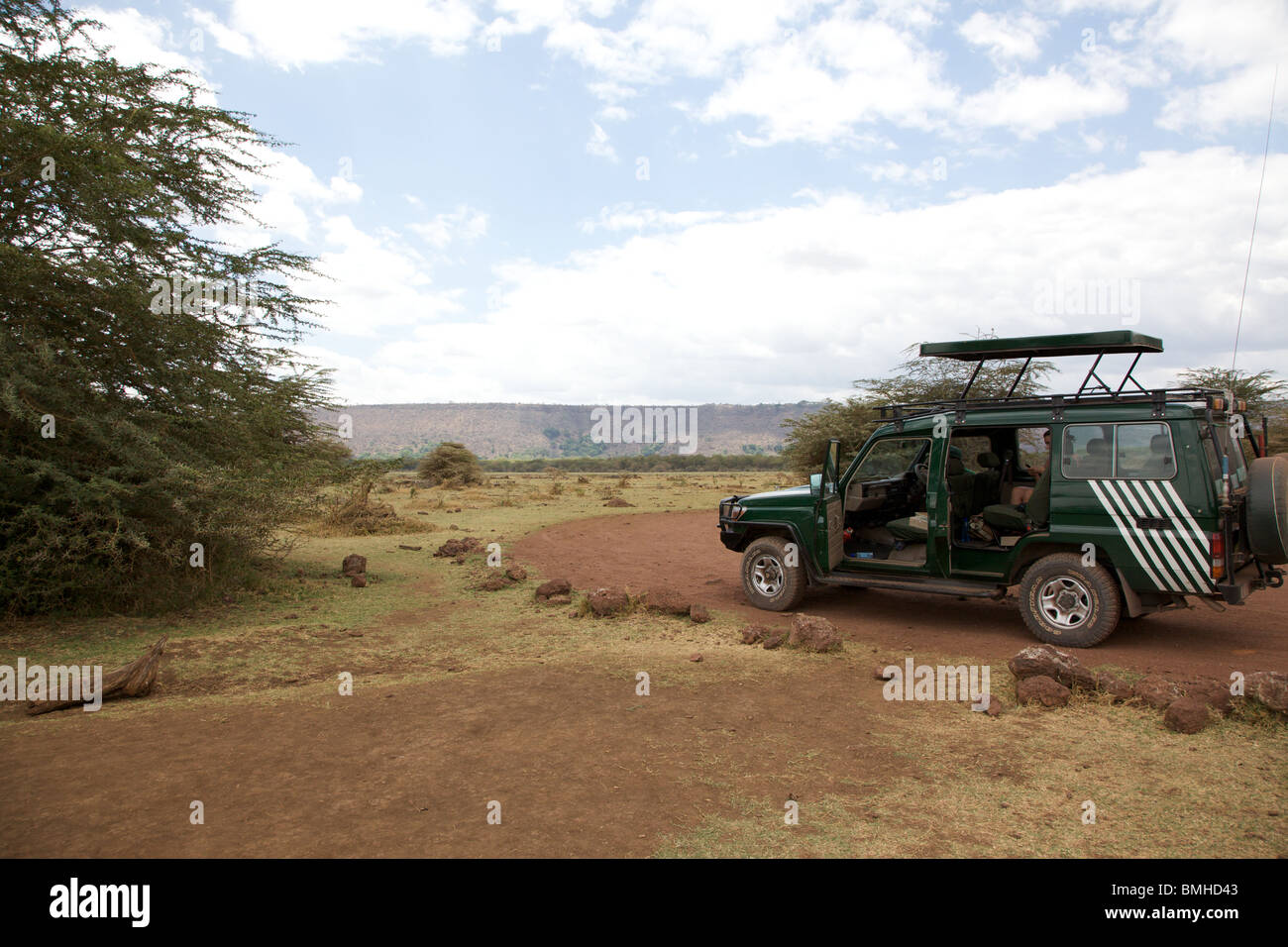 Safari vehicle in Lake Manyara National Park Tanzania - Stock Image